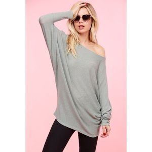 Off the Shoulder Textured Knitted Top-SAGE